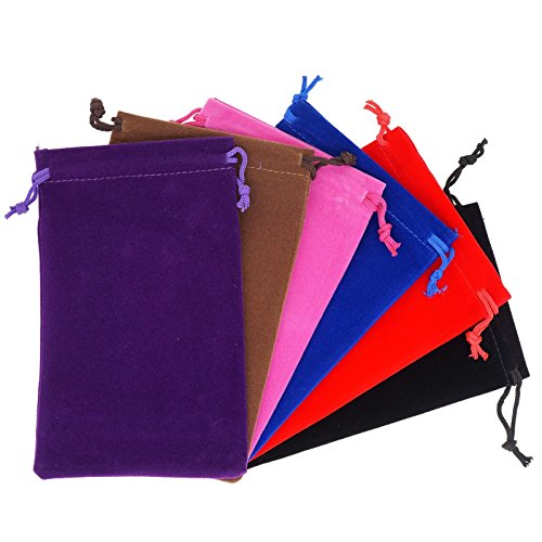 Pack of 6 Mix Color Soft Velvet Pouches w Drawstrings for Jewelry Gift Packaging, 10x16cm - Personalized Jewelry Pouch