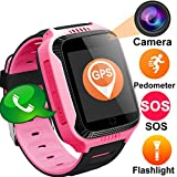 "TURNMEON 1.44"" Touch GPS Tracker Smart Watch Phone for Easter Kids Boys Girls Gifts with SIM Solt Pedometer SOS Camera Bracelet Smartwatch Children Fitness Tracker Toys (Cool Pink)"