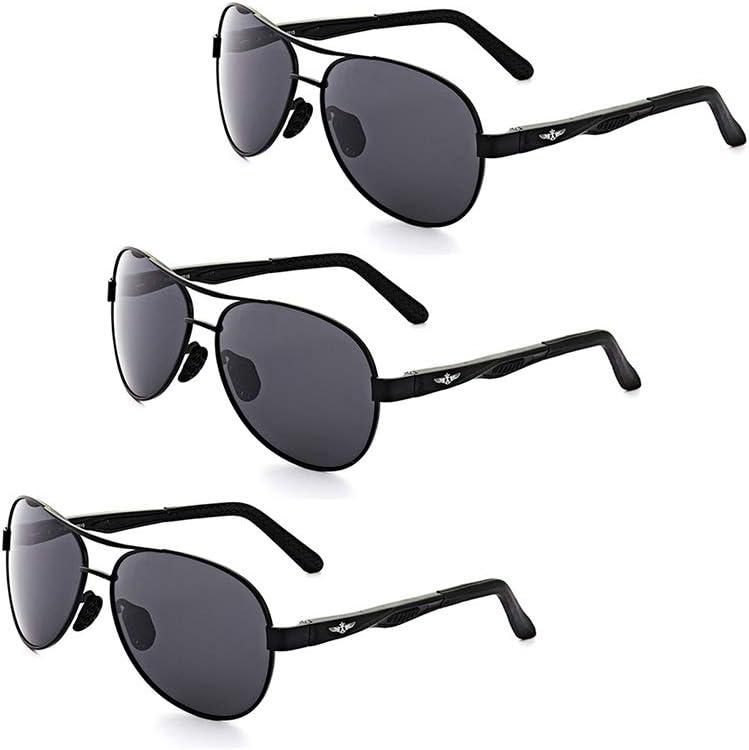 LVYY Polarisants Lunettes de Soleil Protection UV Style rétro de la personnalité de Metal Frame Mode 3 Paires (Color : Black/Gray) BLACK/GRAY