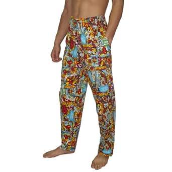 Mens Marvel Comics Ironman Cotton Sleepwear / Pajama Pants - Multicolor (Size: 2XL)