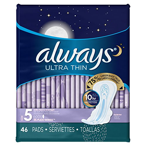 Always Ultra Thin Size Feminine Pads with Wings, 46 Count