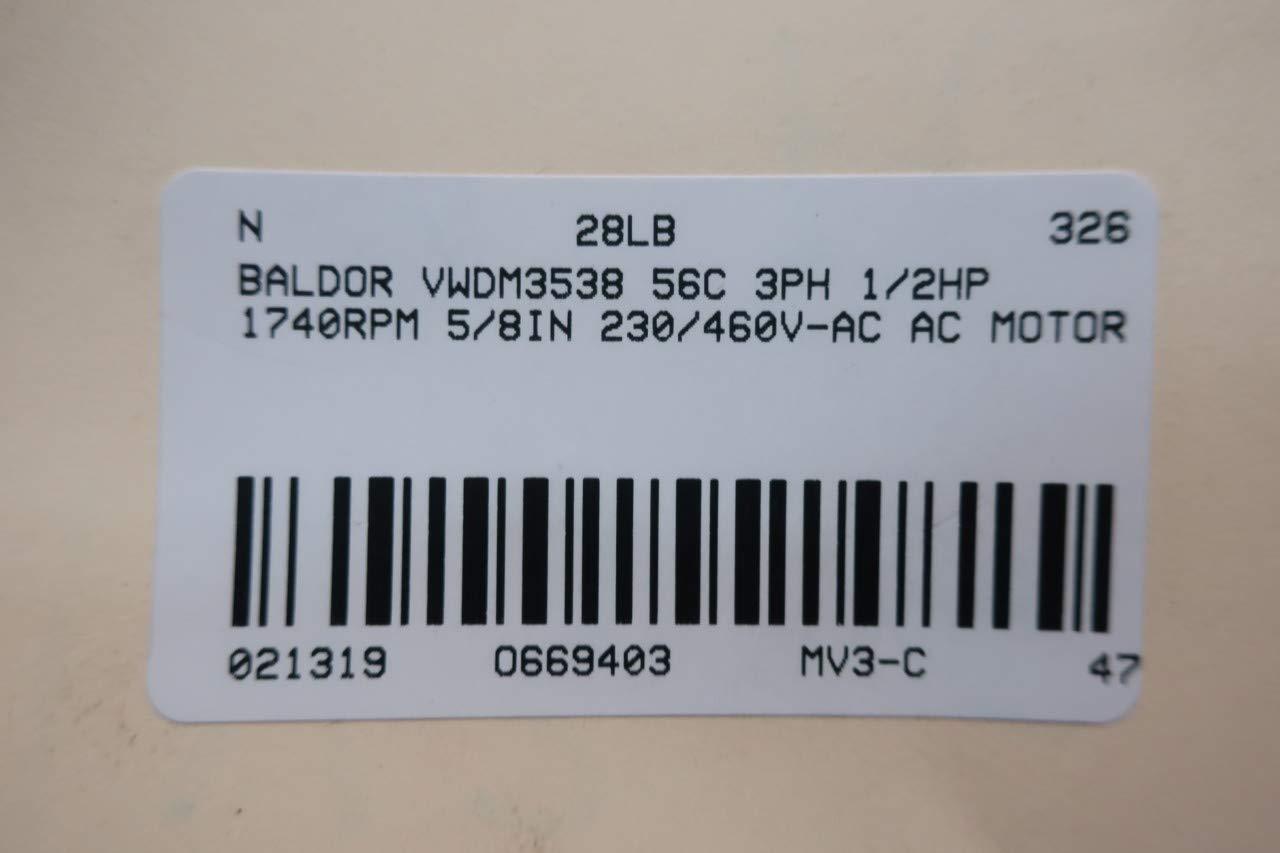 1740 RPM ELECTRIC MOTOR BALDOR VWDM3538 1//2 HP
