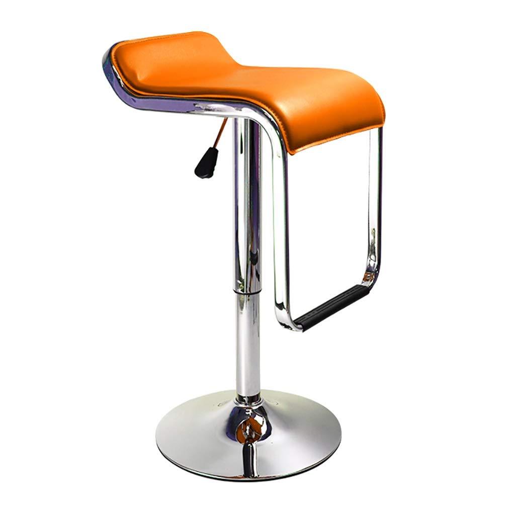 HENGGE 回転バーチェア、レザーレットの外観、調節可能なフットスツール背もたれ椅子、カウンター用、キッチン、カフェ、パブ (Color : Orange) B07SGJ8DVG Orange