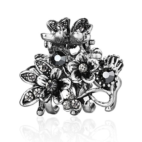 Cottvott Ancient Silver Color Mini Hair Claw Clips Accessory Small Flower Vintage Metal Hairpin for Women