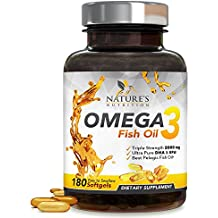 Omega 3 Fish Oil Concentrated Triple Strength 2400mg - EPA & DHA Fatty Acids - Burpless Capsules, Non-GMO, GMP Certified, Best Fish Oil Supplement by Nature's Nutrition, Lemon Flavor - 180 Softgels