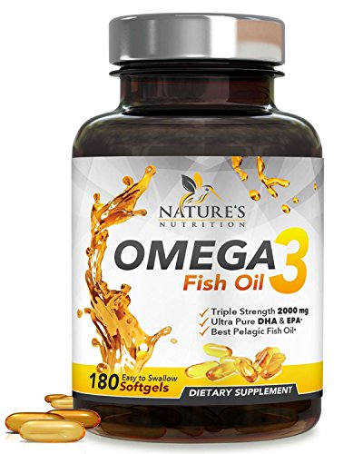 Omega 3 Fish Oil Concentrated Triple Strength 2400mg – EPA & DHA Fatty Acids – Burpless Capsules, Non-GMO, GMP Certified, Best Fish Oil Supplement by Nature's Nutrition, Lemon Flavor – 180 Softgels Review