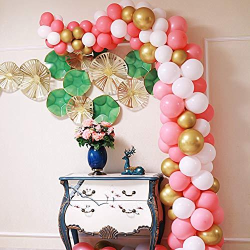 Zabyky Balloon Garland Arch Kit 16Ft Long 110 PCS Pink Gold White Balloons for Baby Bridal Shower Princess Girl Birthday Backdrop Party Decorations