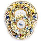 Sur La Table Floreale 12-Piece Melamine Dinnerware Set with 4 Bonus Appetizer Plates LG0705-S16
