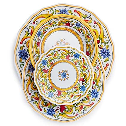 Sur La Table Floreale 12-Piece Melamine Dinnerware Set with 4 Bonus Appetizer Plates  sc 1 st  Amazon.com & Amazon.com | Sur La Table Floreale 12-Piece Melamine Dinnerware Set ...