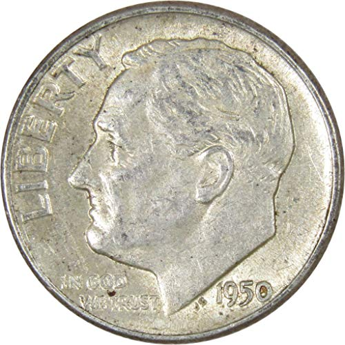 (1950 10c Roosevelt Silver Dime Average Circulated)