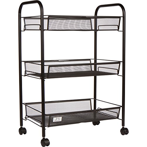 3 Tier Utility Cart, Kitchen Storage with Rolling Wheels, Metal Mesh Wire Basket Trolley, Black - Wire Storage Carts