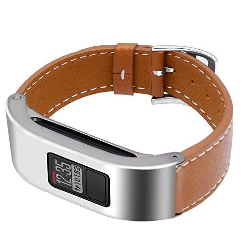 C2D JOY for Garmin Vivofit3/JR Case Leather Bands - Metal Steel Case with Leather Bands Only for Garmin Vivofit 3 and Vivofit JR Brown (5.9-8.2in)