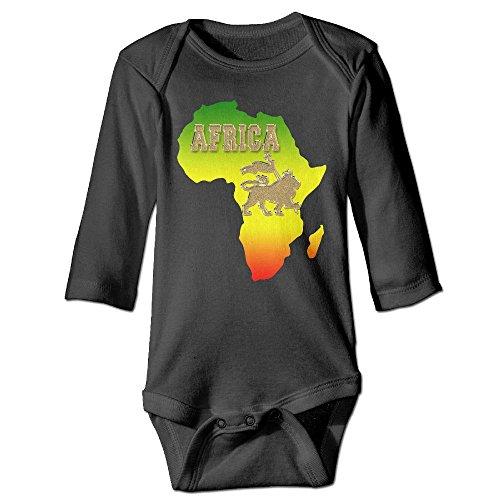 Clarissa Bertha Africa Map and Rasta Lion Baby Boys Girls Long Sleeve Onesies Bodysuits by Clarissa Bertha