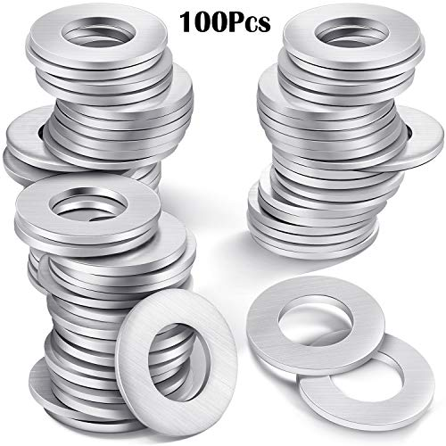 100 Pieces Metal Stamping Blanks Flat Round Washer with Center Hole for Bracelet Jewelry Making DIY Crafts