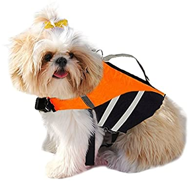 EXPAWLORER Ripstop Dog Life Jacket with Handle Adjustable Reflective Pet Puppy Saver Swimming Life Vest Coat Flotation Aid Buoyancy for Small and Large Dogs by HAOBO
