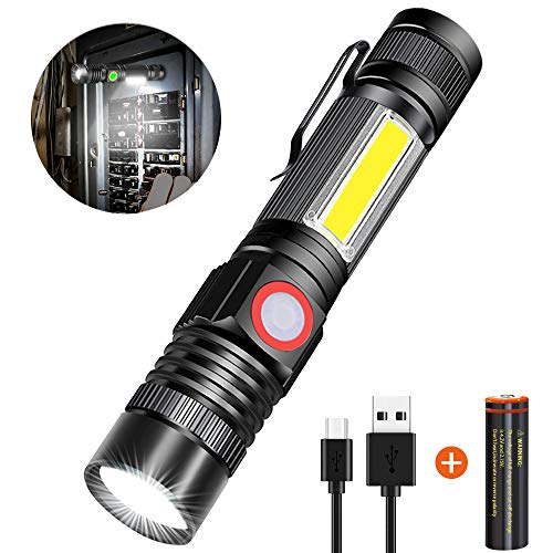 Rechargeable Flashlight sidelight Waterproof Emergency