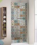 BRIKETO FLEUR Transparent Decorative Tile Stickers Set 12 units 6x6 inches. Window Decor. Glass Decor. Kitchen and Bath.