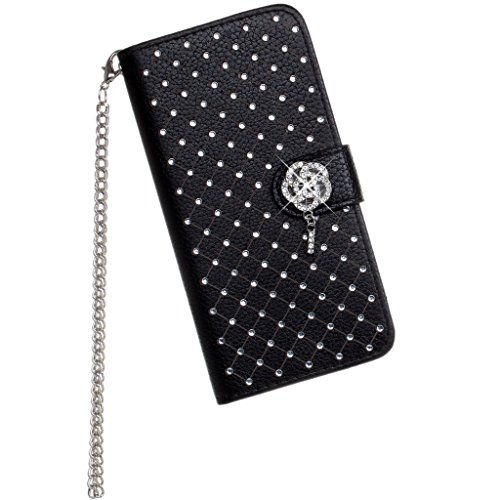iPhone 7plus Case, LU2000 Flip Folio Leather Handbag Wallet Wristlet Case with Metal Chain Sling Purse Clasp Stud Rhinestone Bling Star Decor for Apple iPhone 7+ / 7plus (5.5 inch) - Black ()