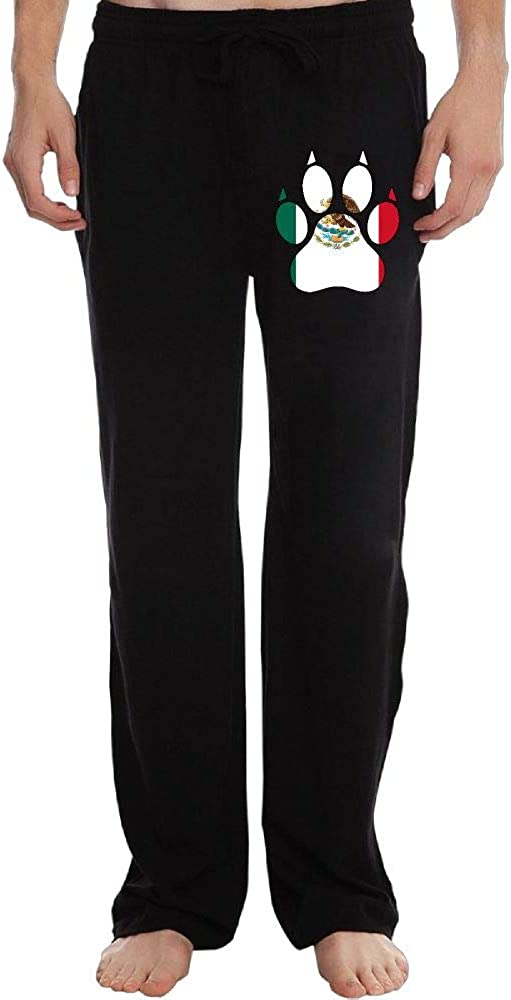 Sweatpants for Mens Elastic Mexico Flag Dog Paw 100/% Cotton Drawstring Pants
