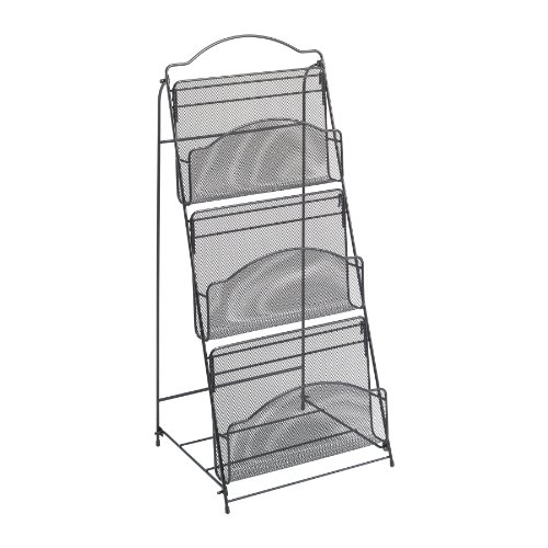 [Safco Products 6460BL Onyx Mesh Floor Rack, 3 Pocket, Black] (Magazine Display Finish)