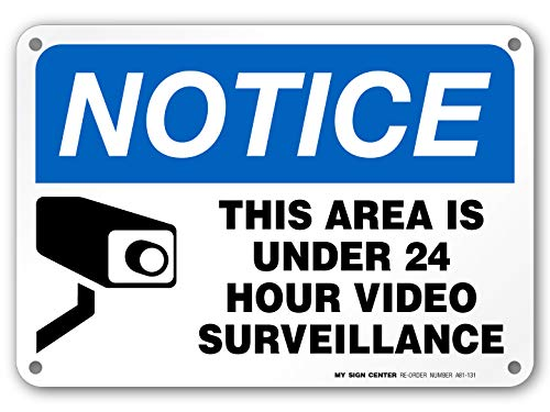 24 Hour Video Surveillance Sign, Security Camera Sign Warning for Home or Business CCTV Monitoring System, Outdoor Rust-Free Metal, 7