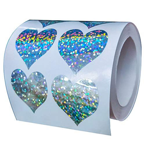 (Well Tile Glitter Heart Shape Stickers Sparkly - 1.1