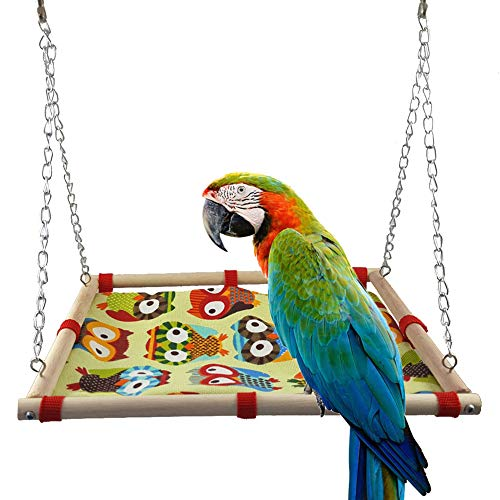Shuohu Parrot's Toy,Swing Hanging Bed Wooden Frame Cartoon Owl Print Canvas Pet Bird Toy ()
