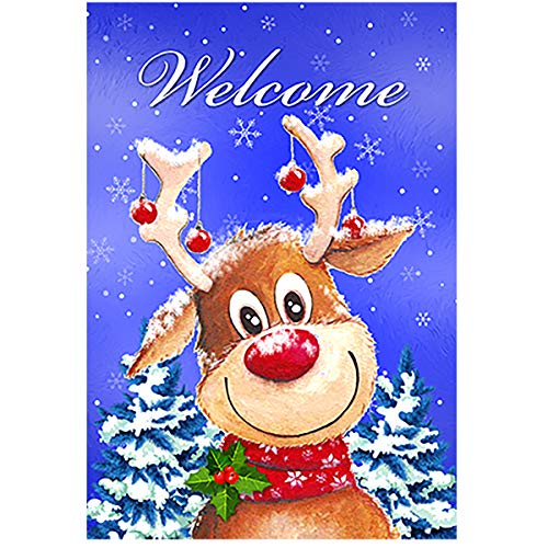 (Morigins Welcome Candy Cane Reindeer Outdoor Yard Flag Double Sided Decorative Winter Christmas Holiday Ornament Garden Flag 12.5 x 18 inch)
