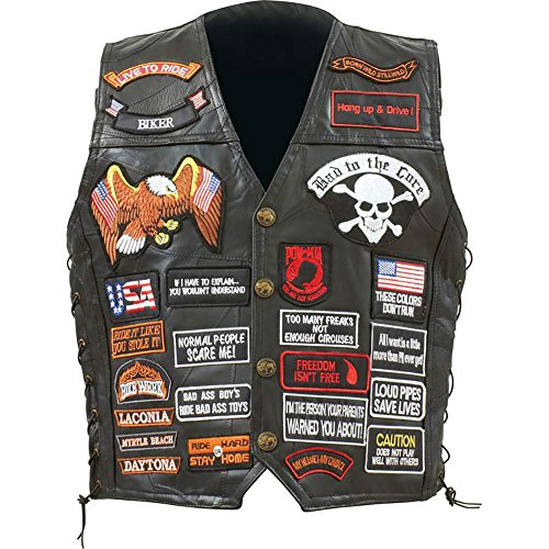 Biker Vest Lace-Up Buffalo Leather Motorcycle USA Flag Eagle w/ 42 Patches (M) Black