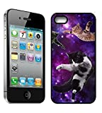 [TeleSkins] - Cats Flying Space Hipster Triangles - iPhone 4 / 4S Black Plastic Case - Ultra Durable Slim & HARD PLASTIC Protective Vibrant Snap On Designer Back Case / Cover for Girls. [iPhone 4 /4S]
