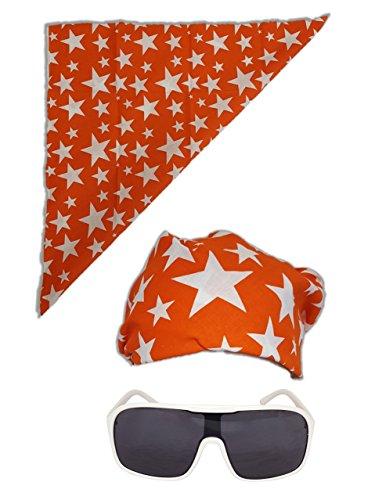 Orange Coloured Costumes - Colored Stars Bandana White Sunglasses for