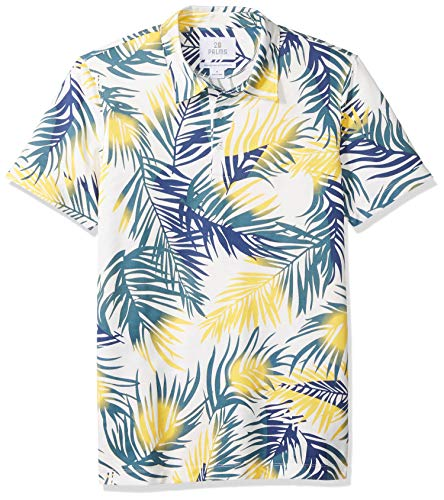 28 Palms Men's Relaxed-Fit Performance Cotton Tropical Print Pique Golf Polo Shirt, Blue/Yellow Palm Leaves, Medium
