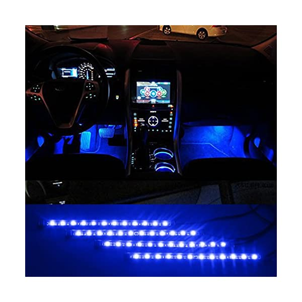 ITimo Car Auto Vehicle Interior Decoration Atmosphere Lights Led Flexible Strip Light Bar   Blue 4 X 12LED DC12v
