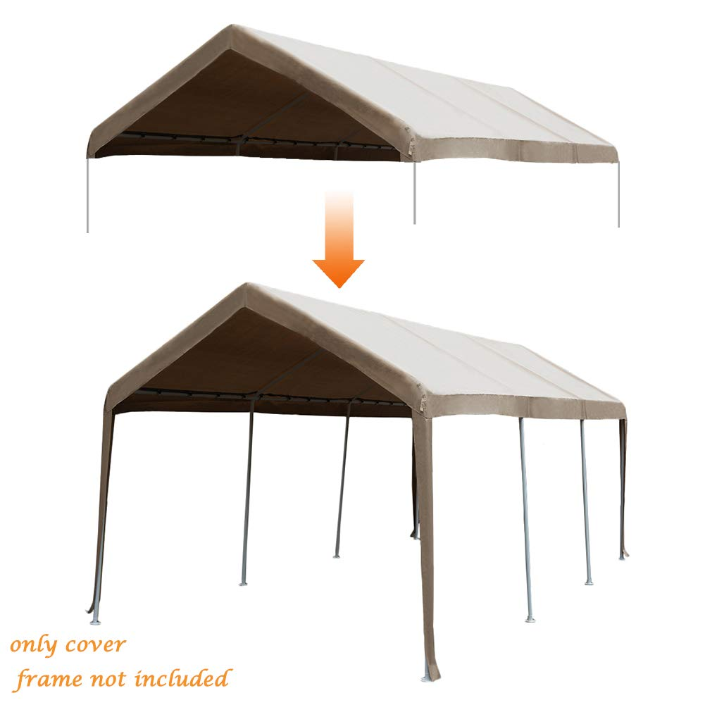 Abba Patio 10 x 20-Feet Carport Replacement Top Canopy Cover for Garage Shelter with Ball Bungees, Beige (Frame Not Included) by Abba Patio