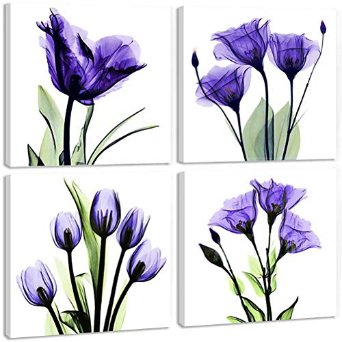 TONZOM - Canvas Wall Art 4 Panel Elegant Tulip Flower Print Wall Art Painting Artwork Modern Pictures Framed Ready to Hang For Office Decor (purple flower prints framed) 12x12inch