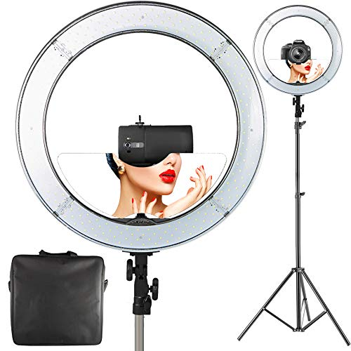 "18"" LED Continuous Output Lighting Video Ring Light with Mir"