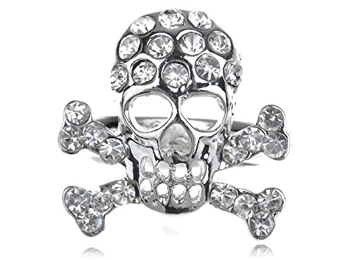 Alilang Anarchy Silvery Tone Crystal Rhinestone Pirate Death Skull Bone Cross Biker (Biker Halloween Costumes Party City)