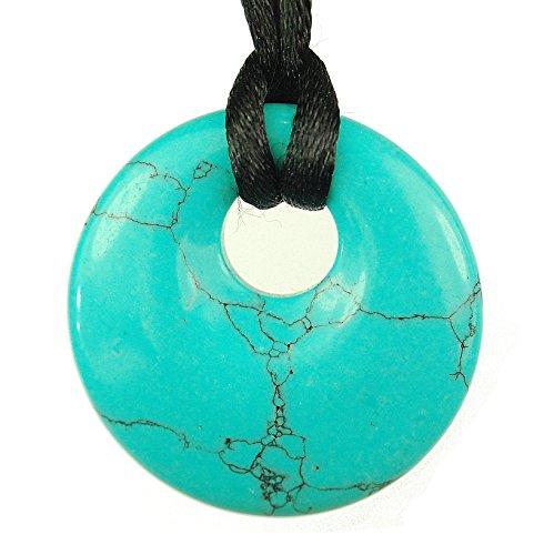 Spiritual Turquoise, Blue Gemstone Donut Offset Round Disc Pendant 1.18' / 30mm - 20' Black Adjustable Necklace Cord