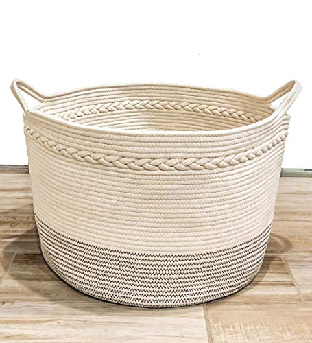 Noble Decor | XXL LARGE Cotton Woven Blanket Basket | 20x20x13 | Perfect for Laundry Hampers, Kids & Baby Toys, Towel Storage, Pillows, Throw Blankets, Pool Accessories
