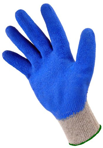 G & F 3100L-10 Rubber Latex Coated Work Gloves for Construction, Blue, Crinkle Pattern, Men's Large (120 Pairs)