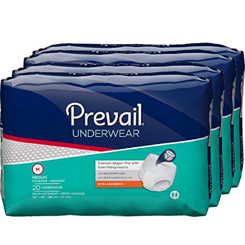 Prevail Extra Absorbency Incontinence Underwear, Medium, 20-Count (Pack of 4)