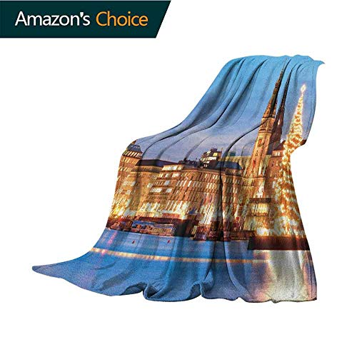 Winter Couch Blanket,Hamburg Germany Old Town Hall with Christmas Tree Historical Architecture Blanket for Sofa Couch TV Bed All Season,30