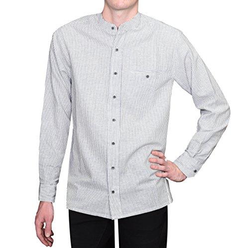 Irish Collarless Linen Grandad Shirt LN8 Navy/White Stripe (Large, LN8 Blue Stripe)