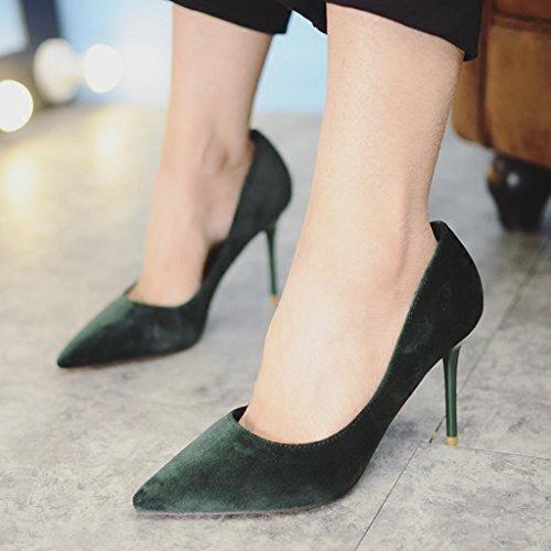 sexy cm Punta Zapatos Tamaño de Zapatos Dream rosa cómodos trabajo boda 35 9 Tacones baja Verde Femenino Zapatos color de de altos de Color estrecha de gamuza Boca RtvHtF