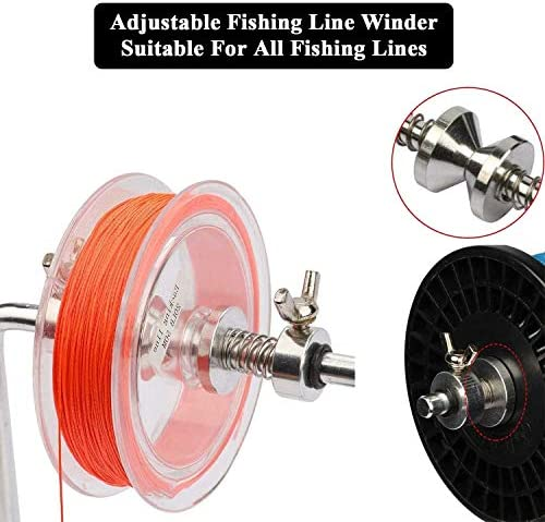 Fishing Line Winder Spooler Machine Spinning Reel Spool Spooling Station System with C-Clamp and Suction Cup Adjustable for Varying Spool Sizes(with Line Pliers and Storage Bag)