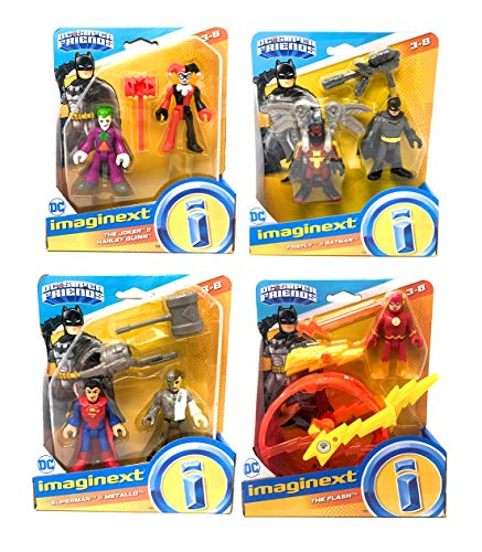 Fisher Price Imaginext DC Super Friends Action Figure Toy Set - Bundle of 4 Sets That Include Batman, Firefly, Superman, Metallo, The Joker, Harley Quinn, and The Flash with Cycle