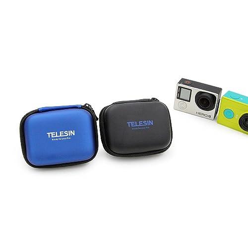 TELESIN Portable Mini Bag Pocket Carry Case Action Camera PU Storage Box for Gopro Hero6/5/4/3, SJCAM Series Xiaomi Yi,Xiaomi Yi2 4K/4K+,Polaroid Cube/Cube+ Action Cameras (Blue)