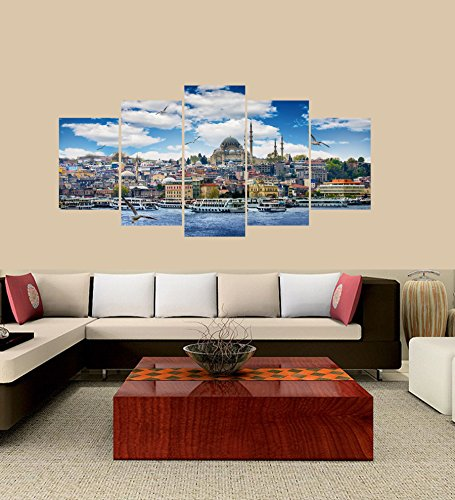 PEACOCK JEWELS [Large] Premium Quality Canvas Printed Wall Art Poster 5 Pieces / 5 Pannel Wall Decor Istanbul The Capital of Turkey-2 Painting, Home Decor Pictures - with Wooden Frame (Turkey Picture Frame)