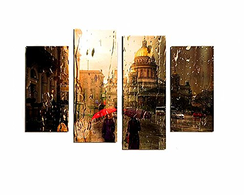 France Oil Painting (BERDECIA Western Old Town France Retro Building Oil Paintings By Number Raining Day Pedestrian with Umbrella Walking on the Street Canvas Home Decor Wall Art Modern Abstract Pictures Unframed)