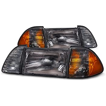 Xtune HD-JH-FM87-6PC-AM-SM Headlight Ford Mustang 87-93 OEM style s with Corner Parking Lights 6pcs Amber - Smoked